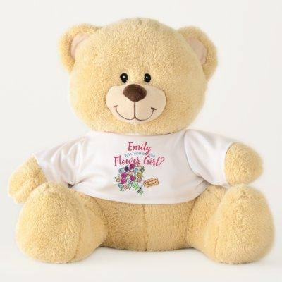 Personalized FLOWERGIRL Invite TEDDYBEAR GIFT Teddy Bear