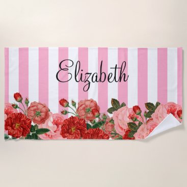Beach Themed Personalized Flowers and Stripes Beach Towel