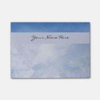 Personalized Fluffy Clouds and Blue Sky Post-it Notes