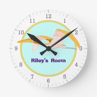 Personalized Flying Pterodactyl Dinosaur 1 Round Clock