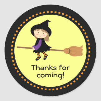 Personalized Flying Witch Halloween Favor Stickers