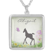 Personalized Foal and Butterfly Horse Necklace