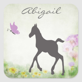 Personalized Foal and Butterfly Horse Sticker