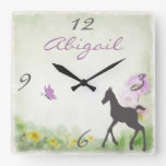Personalized Foal and Butterfly Horse Wall Clock