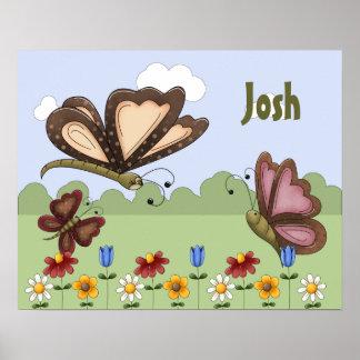 Personalized Folk Art Butterfly Children's Bedroom Poster