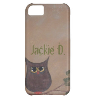 Personalized Folk Art Owl Acrylic Painting Cover For iPhone 5C
