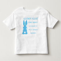 Personalized Food Allergy Alert Blue Easter Bunny Toddler T-shirt