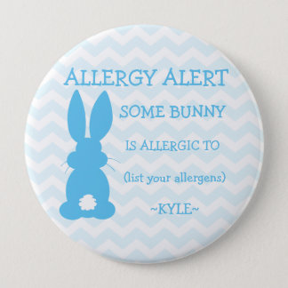 Personalized Food Allergy Alert Easter Bunny Blue Pinback Button