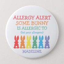 Personalized Food Allergy Alert Easter Bunny Kids Button