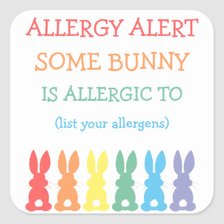 Personalized Food Allergy Alert Easter Bunny Square Sticker