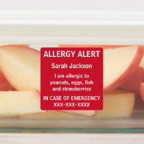 Personalized Food Allergy Alert Kids Daycare Labels