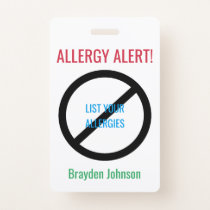 Personalized Food Allergy Alert Kids Medical Alert Badge
