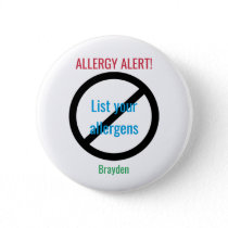 Personalized Food Allergy Alert Kids NO Symbol Button