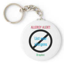 Personalized Food Allergy Alert Kids NO Symbol Keychain
