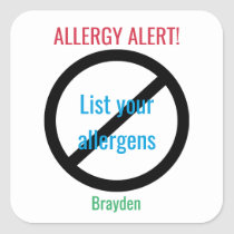 Personalized Food Allergy Alert Kids NO Symbol Square Sticker