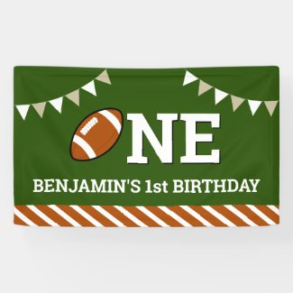 Personalized Football 1st Birthday Party Banner
