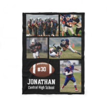 Personalized Football 5 Photo Collage Name # Team Fleece Blanket
