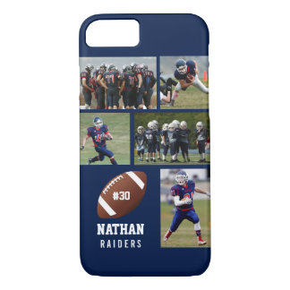 Personalized Football 5 Photo Collage Name Team # iPhone 8/7 Case