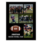 Personalized Football 5 Photo Collage Name Team # Poster