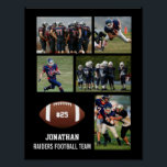 """Personalized Football 5 Photo Collage Name Team # Poster<br><div class=""""desc"""">This custom football poster features your 5 photos, football player's name, jersey number and team name. Personalize with action shots, a team photo, etc. Easily change the background color to match your team's colors - just click """"customize it"""" and then the small eye dropper. Makes a great end of season...</div>"""