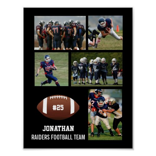 Personalized Football 5 Photo Collage Name Team  Poster