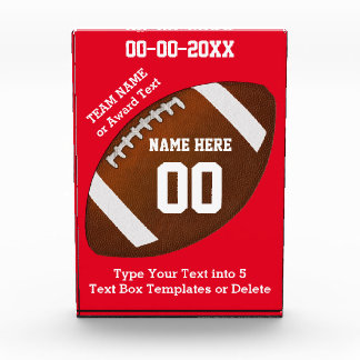 Personalized Football Award Change COLORS and TEXT