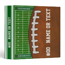 Personalized Football Binder, Cool Football Field 3 Ring Binder