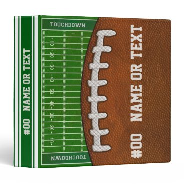 Personalized Football Binder, Cool Football Field 3 Ring Binder