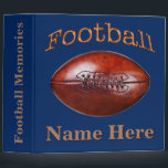 """Personalized Football Binders Your COLORS and TEXT<br><div class=""""desc"""">Personalized Football Binders in Your COLORS and YOUR TEXT or delete the temporary text. Great football gifts for players and personalized football gifts. Change the blue background and the rusty tan customizable text to your team colors. Cool vintage football gifts for players and the entire team. CALL Rodney and Linda...</div>"""