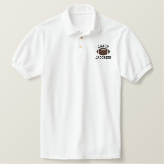 Personalized Football Coach Custom Name Embroidered Polo Shirt