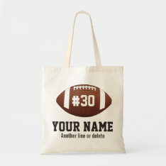 Personalized Football Custom Name Number Tote Bag at Zazzle