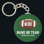 """Personalized Football Design Name, Number, Team Keychain<br><div class=""""desc"""">This personalized football design features an American football with a jersey number and one or two lines of custom text - player&#39;s name, school name, team name, etc. Perfect for high school, youth or college player or football fans. Show your school spirit and love of football with a customized football...</div>"""