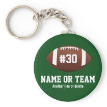 Personalized Football Design Name, Number, Team Keychain