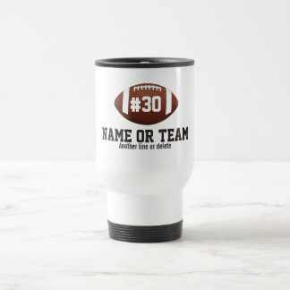 Personalized Football Design Name, Number, Team Travel Mug