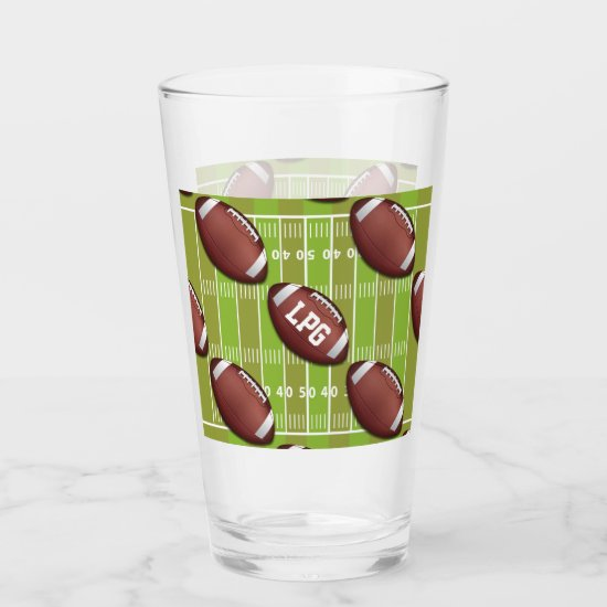 Personalized Football Pattern on Sports Field Glas