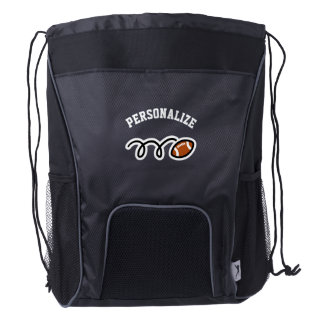 Personalized football player drawstring backpack