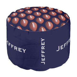 Personalized Football Pouf Cushion Seat Blue