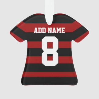 Personalized Football soccer shirt Red Black hoops