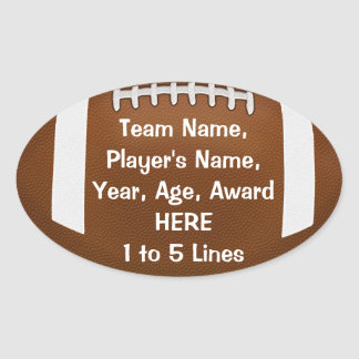 Personalized Football Stickers 1 - 5 Lines of TEXT