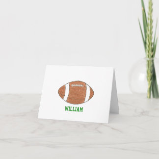 Personalized football theme notecards with name