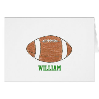 Personalized football theme notecards with name stationery note card