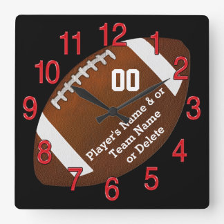 Personalized Football Wall Clock, Your TEXT, COLOR Square Wall Clock
