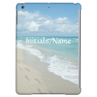 Personalized Footprints White Sand Beach Aqua Blue iPad Air Cases
