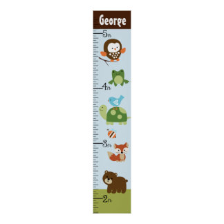Personalized Forest Friends Animals Growth Chart Poster