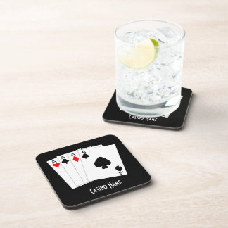 Personalized Four Aces Design Drink Coaster