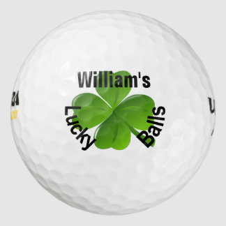Personalized Four Leaf Clover Lucky Golf Balls