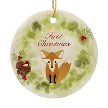 Christmas Themed Personalized Fox and Wreath Baby's First Christmas Ceramic Ornament