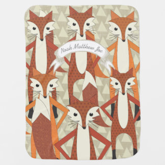 Personalized Fox Hipster Baby Blanket