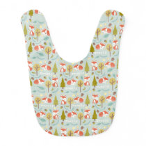 Personalized Fox Pattern Baby Girl Bib