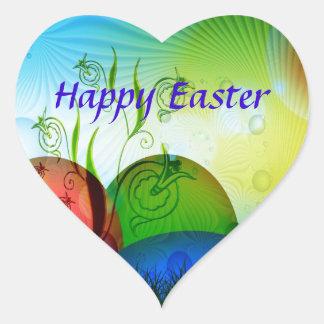 Personalized Fractal Easter Eggs Heart Sticker